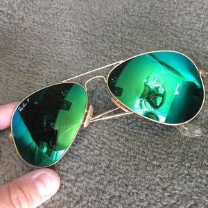 Polarized Ray Ban Green Mirrored Aviators 58MM